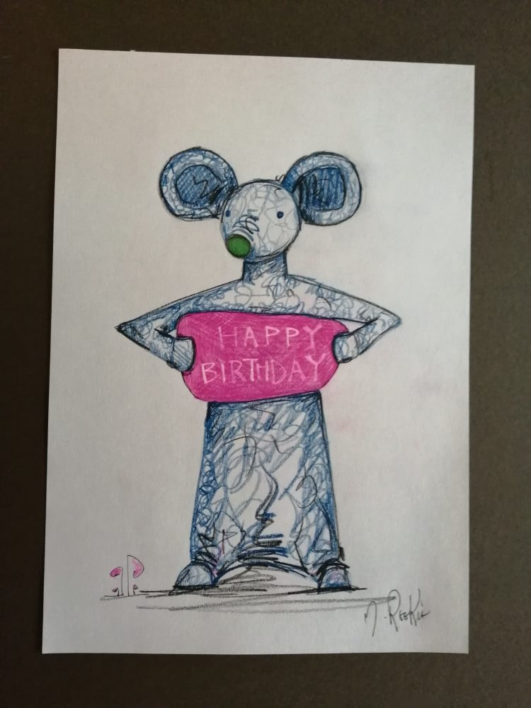 Sketch 'Happy Birthday' on A4 paper. Using Pencil Crayon and pen.