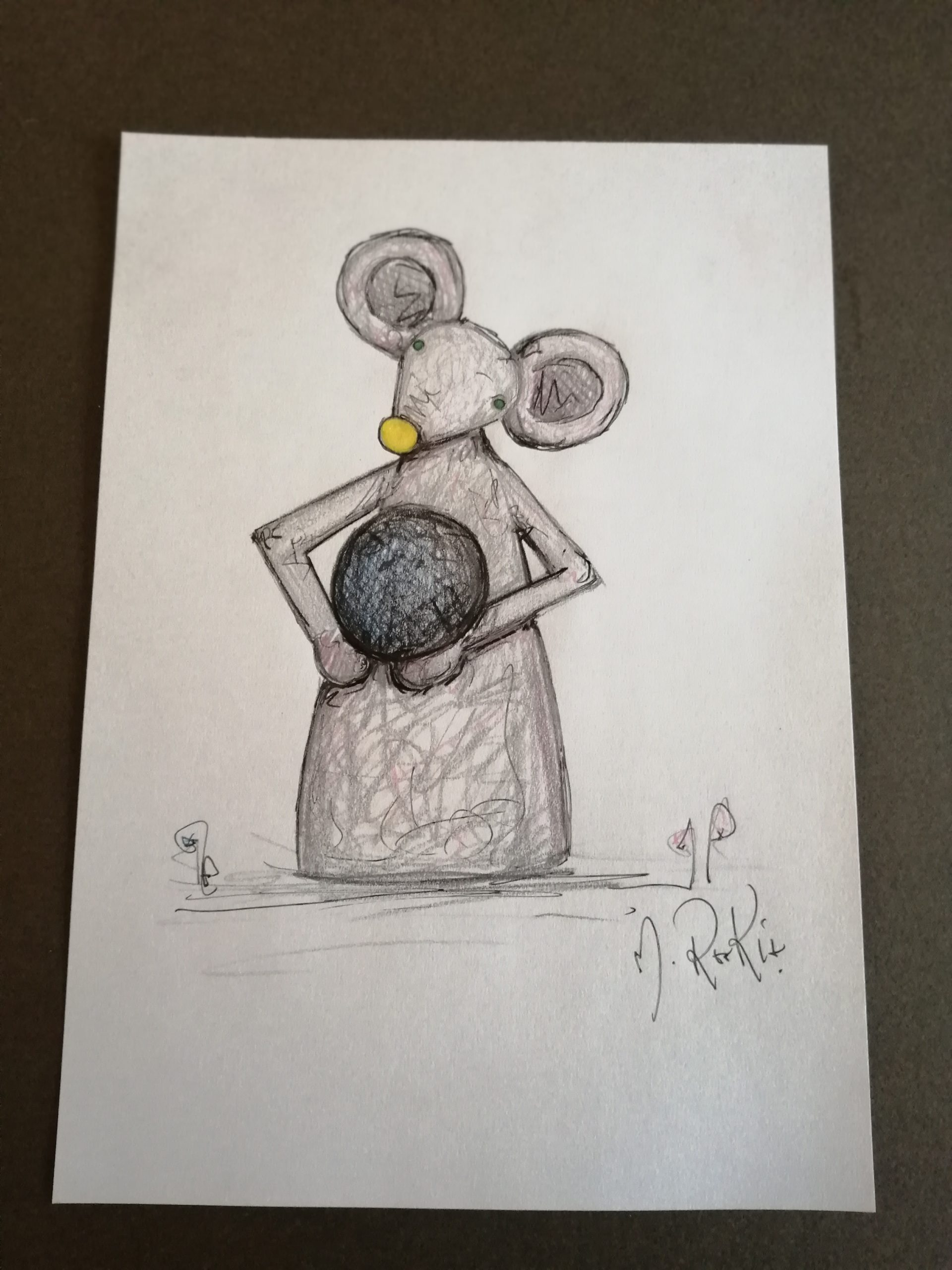 Sketch 'Grey Mouse Holding Pebble