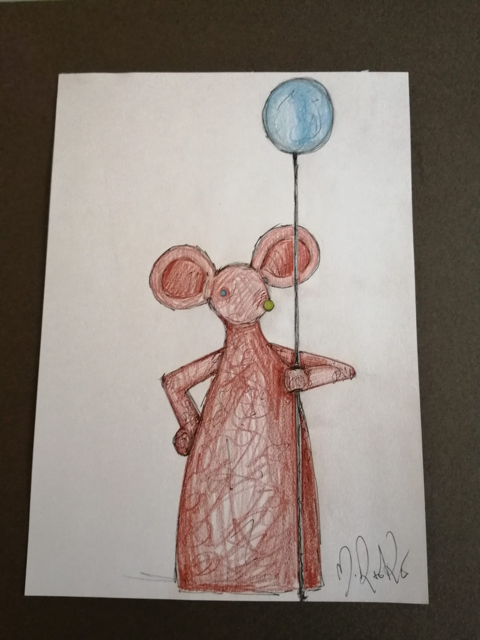 Sketch 'Brown Mouse With Blue Balloon
